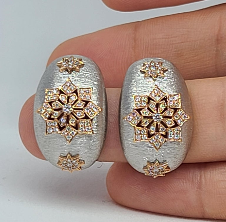 18 Karat White and Rose Gold Diamonds Cocktail Earrings in Florentine Technique For Sale 3