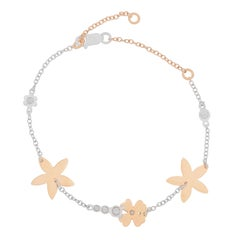 18k White and Rose Gold with Diamonds and Flowers Bracelet