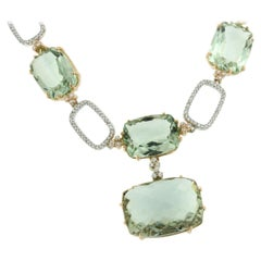 18k White and Rose Gold with Green Amethyst, White Diamond Set Necklace Earring