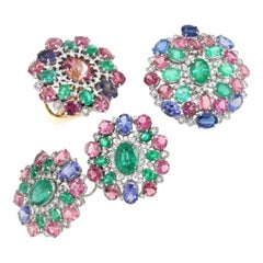 18k White and Rose Gold with Tanzanite Pink Tourmaline, Emeralds, Diamond Set