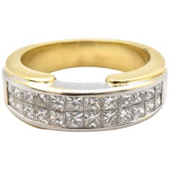 18k White And Yellow And Invisible-Set Princess Cut Diamond Band Ring 1.00cttw