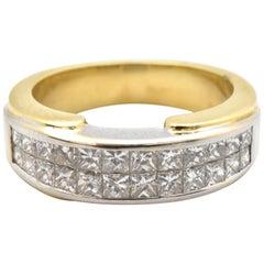 18k weiß und gelb und unsichtbar-Set Prinzessin Schnitt Diamant-Band-Ring 1.00ct
