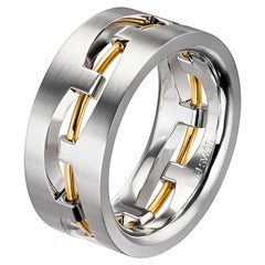 Furrer Jacot 18 Karat White and Yellow Gold Two-Tone Wire Men's Band
