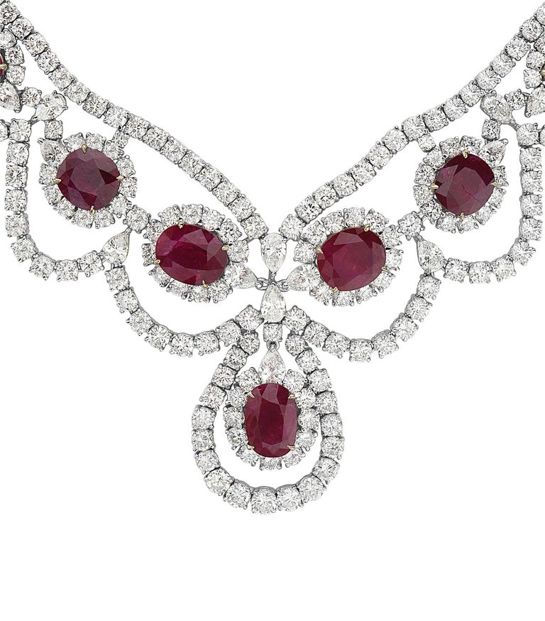 Round Cut 18 Karat White and Yellow Gold Diamond and Ruby Necklace For Sale