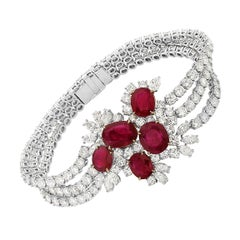 18 Karat White and Yellow Gold Diamond and Ruby Tennis Bracelet