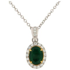 18k White and Yellow Gold Green Emerald Oval & Diamond Halo Pendant 3 1/2 Carat