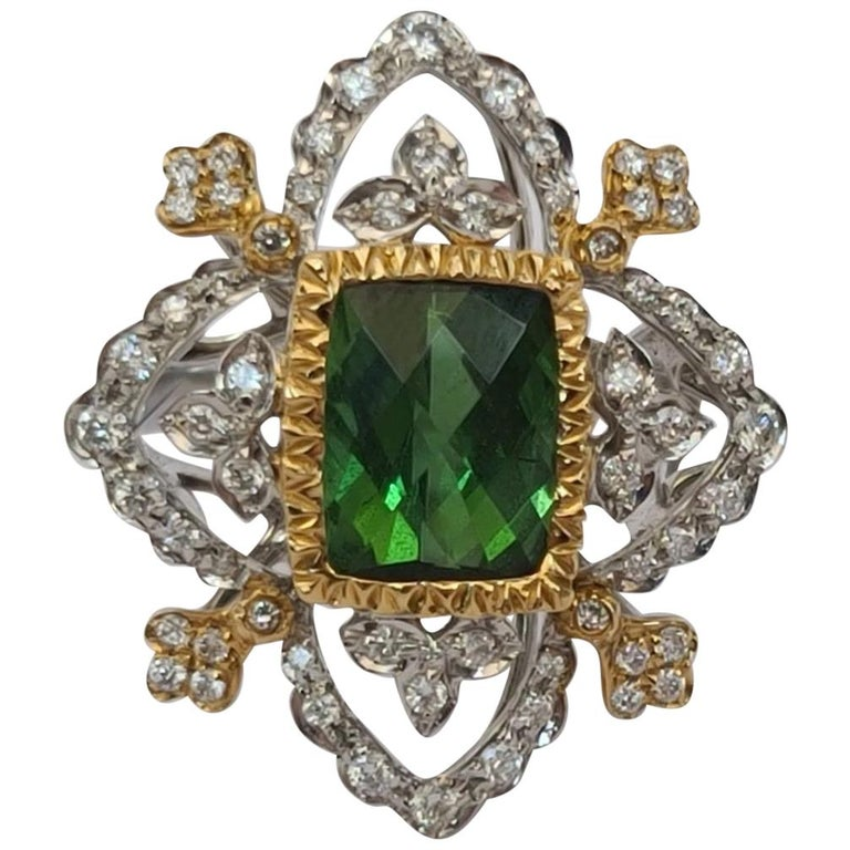 18K White and Yellow Gold Green Natural Tourmaline with Diamonds Cocktail Ring For Sale