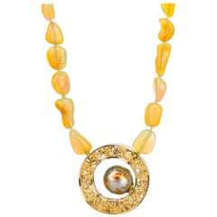 18k White and Yellow Gold Koi Fish Pearl Clasp on an Ethiopian Opal Necklace