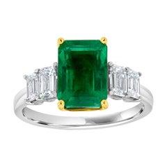 18k White and Yellow Gold Nikki Green Emerald Diamond Ring 'Center: 3.29- Carat'