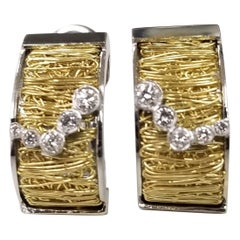 Pasquale Bruni 18k White and Yellow Gold Wire Diamond Earrings