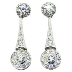 18k white and Yellow gold with cubic zirconia retro style wedding earrings