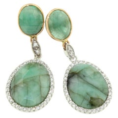 18 Karat White and Yellow Gold with Emerald and White Diamonds Earrings