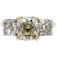 18 Karat White and Yellow Gold Yellow Diamond Three-Stone Ring 4.20 Carat