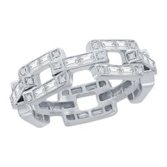 18K White Diamond Link Ring