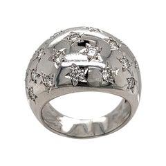 18K White Dome Star Ring