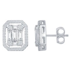 18 Karat White Emerald Cut Earring with Halo