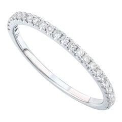 18 Karat White Gold 0.20 Carat Genuine Diamond Pave Ladies Ring