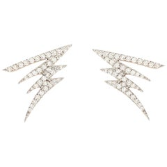 18K White Gold & 0.33 cts White Diamonds Mini Signature Pave Earrings by Alessa