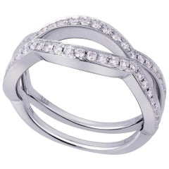 18 Karat White Gold 0.35 Carat Genuine Twist Diamond Pave Ladies Ring