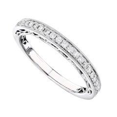 18 Karat White Gold 0.42 Carat Genuine Diamond Pave Ladies Ring