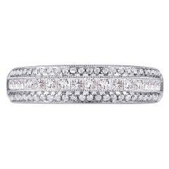 18 Karat White Gold 0.66 Carat Genuine Diamond Pave Ladies Ring