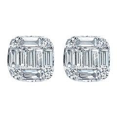18 Karat White Gold 0.78 Carat Diamond Earrings