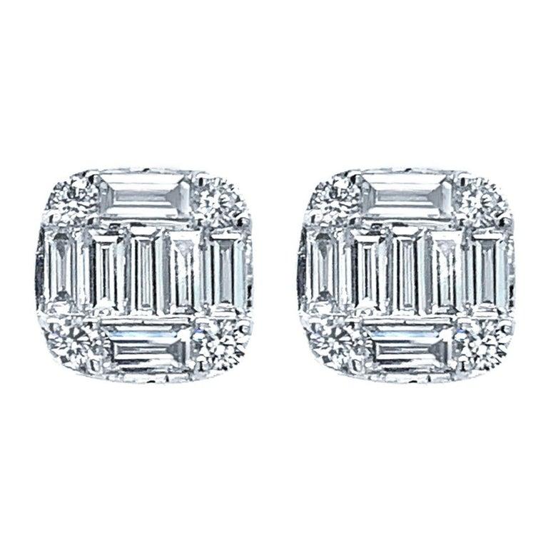 18 Karat White Gold 0 78 Carat Diamond Earrings