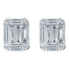 18 Karat White Gold 0.91 Carat Diamond Earrings