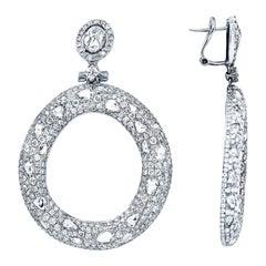 18 Karat White Gold 10.50 Carat Rose Cut Diamond Earrings