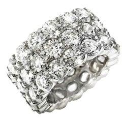 18 Karat White Gold 10.60 Carat Three-Row Diamond Band