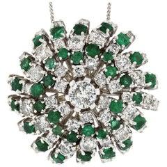 18k White Gold 10.75ctw Round Brilliant Diamond Emerald Swirl Pendant Necklace