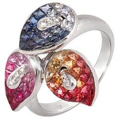 18k White Gold .10ct Diamonds & Invisible 8.7 Ct Multicolor Sapphire Ring