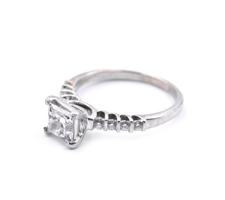 Princess Cut 18 Karat White Gold 1.10 Carat Diamond Engagement Ring For Sale