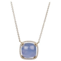 18k White Gold 11.78 Carat Blue Chalcedony and White Diamond Halo Necklace