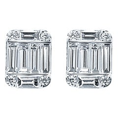18 Karat White Gold 1.18 Carat Diamond Emerald Cluster Earrings