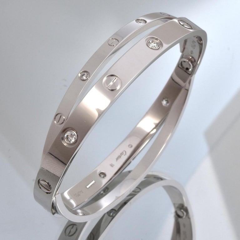Round Cut 18 Karat White Gold 12 Diamond Double Cartier LOVE Bracelet 18 For Sale