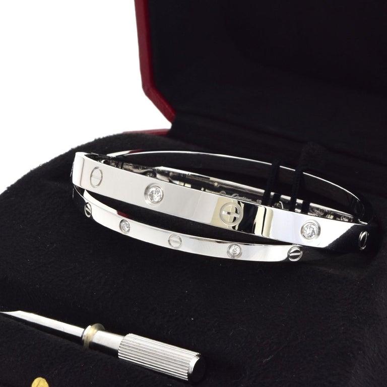 18 Karat White Gold 12 Diamond Double Cartier LOVE Bracelet 18 In Excellent Condition For Sale In Miami, FL