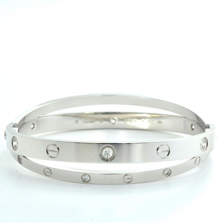 Women's or Men's 18 Karat White Gold 12 Diamond Double Cartier LOVE Bracelet 18 For Sale