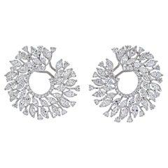 18K White Gold 13 Carats Round Diamond Openwork Hoop Earrings