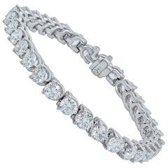 18 Karat White Gold 13.20 Carat Three-Prong Diamond Tennis Bracelet