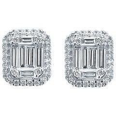 18 Karat White Gold 1.42 Carat Diamond Earrings