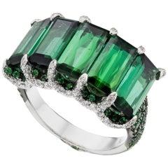 18K White Gold 1.43 Carat Green Tourmaline, Tsavorite and Diamond Cocktail Ring