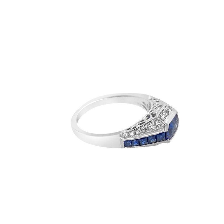 18 Karat White Gold 1.50 Carat Sapphire and Diamond Ring For Sale 1