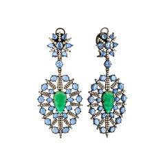18K White Gold 2 2.88 Karat Emerald Sapphire 296 0.075K Diamond Drop Earrings