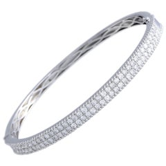 18 Karat White Gold 2-Row Diamond Pave Bangle Bracelet