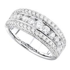18 Karat White Gold 2.00 Carat Diamond Pave Ladies Ring