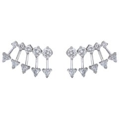 18K White Gold & 2.01 cts Colorless Diamond Spear Earrings by Alessa Jewelry