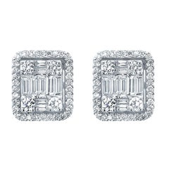 18 Karat White Gold 2.33 Carat Diamond Emerald Cluster Earrings
