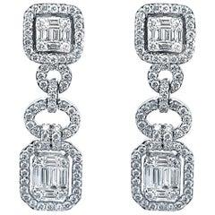 18 Karat White Gold 2.36 Carat Diamond Drop Earrings