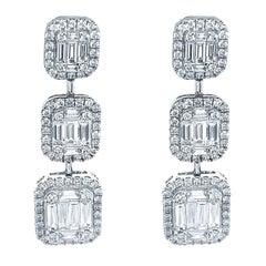 18 Karat White Gold 2.38 Carat Diamond Emerald Cut Dangle Earrings